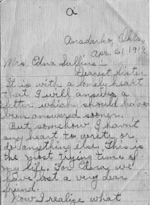Pg 1 letter-death of Wm N. Snelson