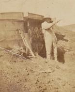 Grandpa outside the dugout Little Elk Creek, Washita, OK