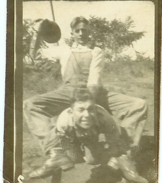 Horseplay, a young Jessie Burrell Leatherwood and cousin McCurdy